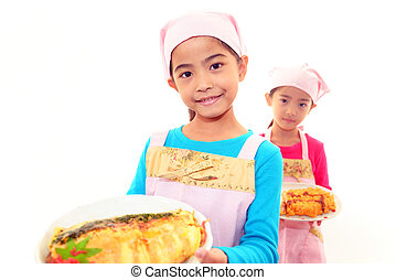 食物, 女の子, 幸せ
