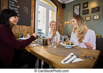 食物, 女性, 持つこと, レストラン