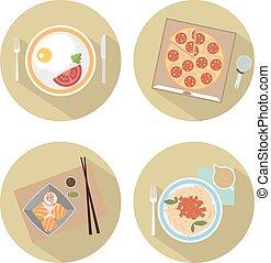 食物, 平ら, アイコン