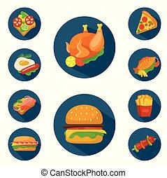 食物, 平ら, スタイル, セット, アイコン