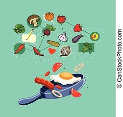食物, 平ら, ベクトル, イラスト