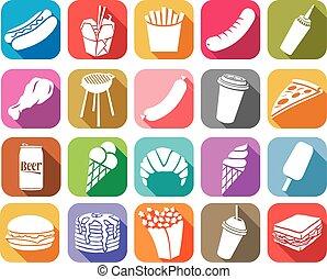 食物, 平ら, 速い, コレクション, アイコン