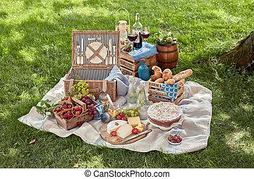 食物, 広がり, ピクニック, おいしい, ワイン