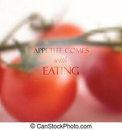 """食物, 引用, eating""""., 現実的, 背景, 来る, 束, トマト, ベクトル, """"appetite, 赤, design."""