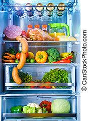 食物, 打開, 冰箱, 充滿
