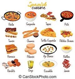 食物, 料理, イラスト, スペイン語