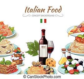 食物, 料理, 背景, イタリア語