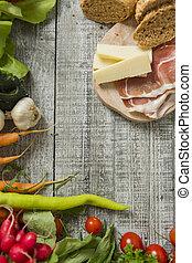食物, 新たに, テーブル