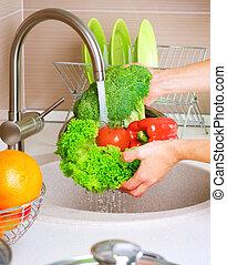 食物, 新鮮な野菜, washing., 健康