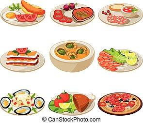 食物, 昼食, セット, ヨーロッパ, アイコン