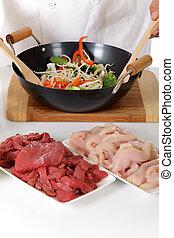 食物, 東洋人, 準備, 中華なべ