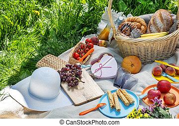 食物, 毛布, ピクニック