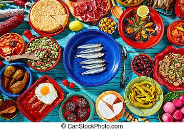 食物, 混合, tapas, 地中海, 西班牙
