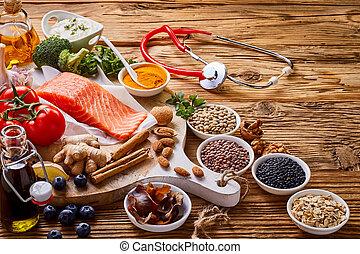 食物, 為, a, 健康的心, 概念, 由于, 聽診器