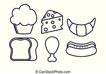 食物, 甘い, セット, おいしい, cupcake