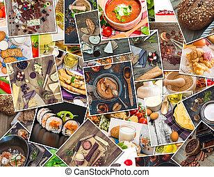 食物, 相片, 上, a, 木製的桌子