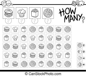 食物, 着色, 数える, 本, オブジェクト