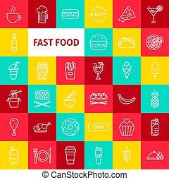 食物, 線, ベクトル, 速い, アイコン