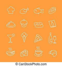 食物, 線, ベクトル, set., アイコン