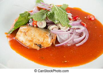 食物, 缶詰にされた魚, サラダ, thailand.