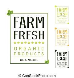 食物, 自然, ラベル, 新たに, 農場, 有機体である