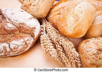 食物, 自然, 新たに, baguette, ロールパン, 味が良い, bread, 焼かれた