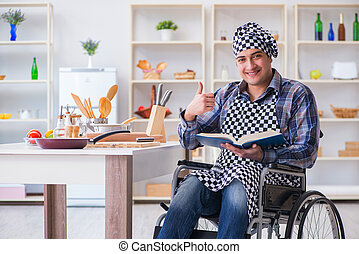 食物, 調理法, 若い, 本, コック, 人