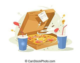 食物, 速い, ピザ