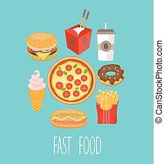 食物, 速い, vector.