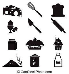 食物, 道具, セット, アイコン
