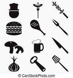 食物, 道具, セット, イラスト, アイコン