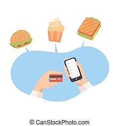食物, 順序, オンラインで, ベクトル, 電話カード, 助け, イラスト