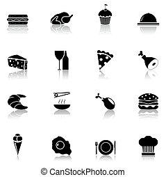 食物, 黒, 1, セット, アイコン, 部分