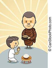 食物, bo, ボール, 修道士, 祈ること