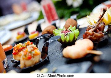 食物, catering., 屋外, 祝典, でき事