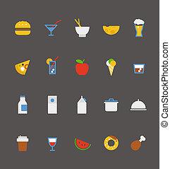 食物, collection., アイコン, デザイン, 平ら