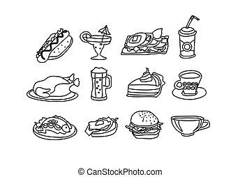 食物, doodles, セット, アイコン