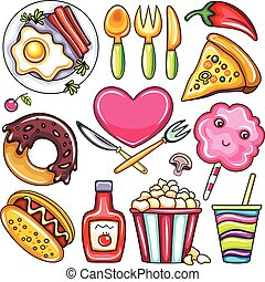 食物, fastfood, 飲みなさい, セット, レストラン