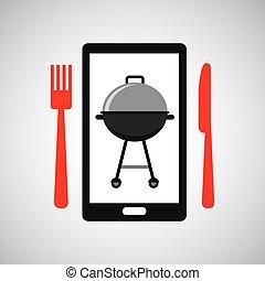 食物, smartphone, 順序, bbq, オンラインで