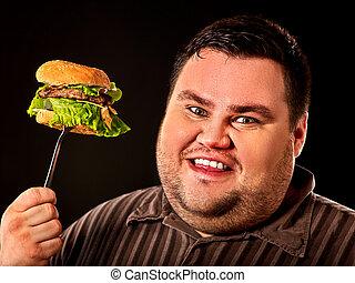食用の食物, 太りすぎ, person., 速い, hamberger., 脂肪, 朝食, 人