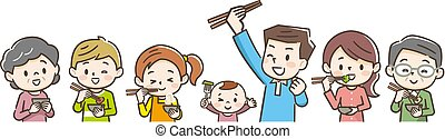 食用の食物, 家族, 微笑, イラスト