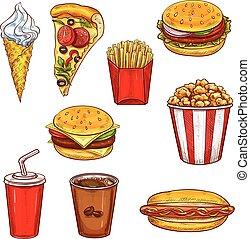 飲みなさい, スケッチ, セット, 食物, デザート, バーガー, 速い