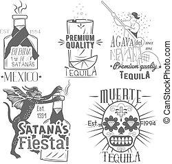 飲みなさい, セット, メキシコ人, アルコール, berida., アイコン, 型, tequila, ラベル, 手, ベクトル, デザイン, メニュー, 引かれる, style., 要素