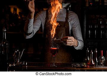 飲みなさい, バーテンダー, アルコール, 燃焼, 手掛かり, 砂糖, の上