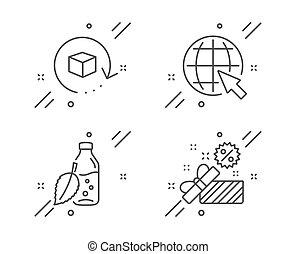 飲みなさい, 商品, アイコン, セール, ベクトル, ミント, 交換, パッケージ, インターネット, set., リターン, 水, 葉, びん, web., 印。, 世界