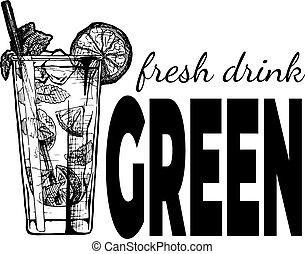 飲みなさい, 新たに, 型, ラベル, 緑