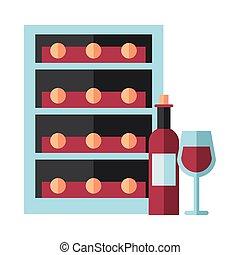 飲みなさい, 箱, ワイン, 貯蔵, びん, カップ