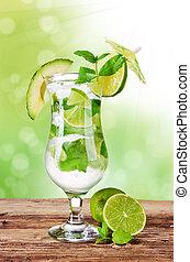 飲みなさい, mojito, 緑の背景, ぼやけ, 新たに