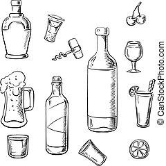 飲み物, カクテル, びん, アルコール, ワイン