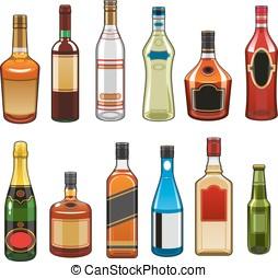 飲み物, ベクトル, びん, アルコール, アイコン